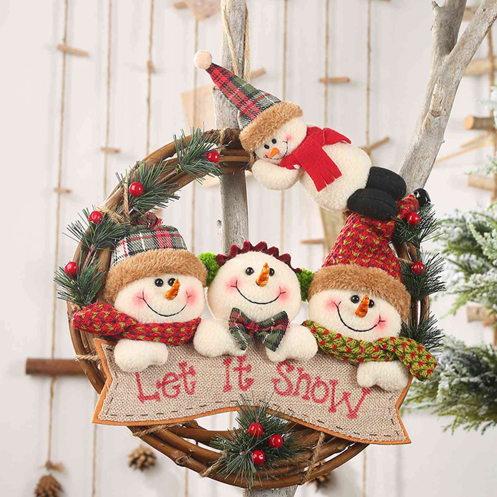 Cây Mây Giáng Sinh Mặt Dây Chuyền Nai Sừng Tấm Người Tuyết Hình Tròn Ông Già Noel Đồ Trang Trí Treo Tường