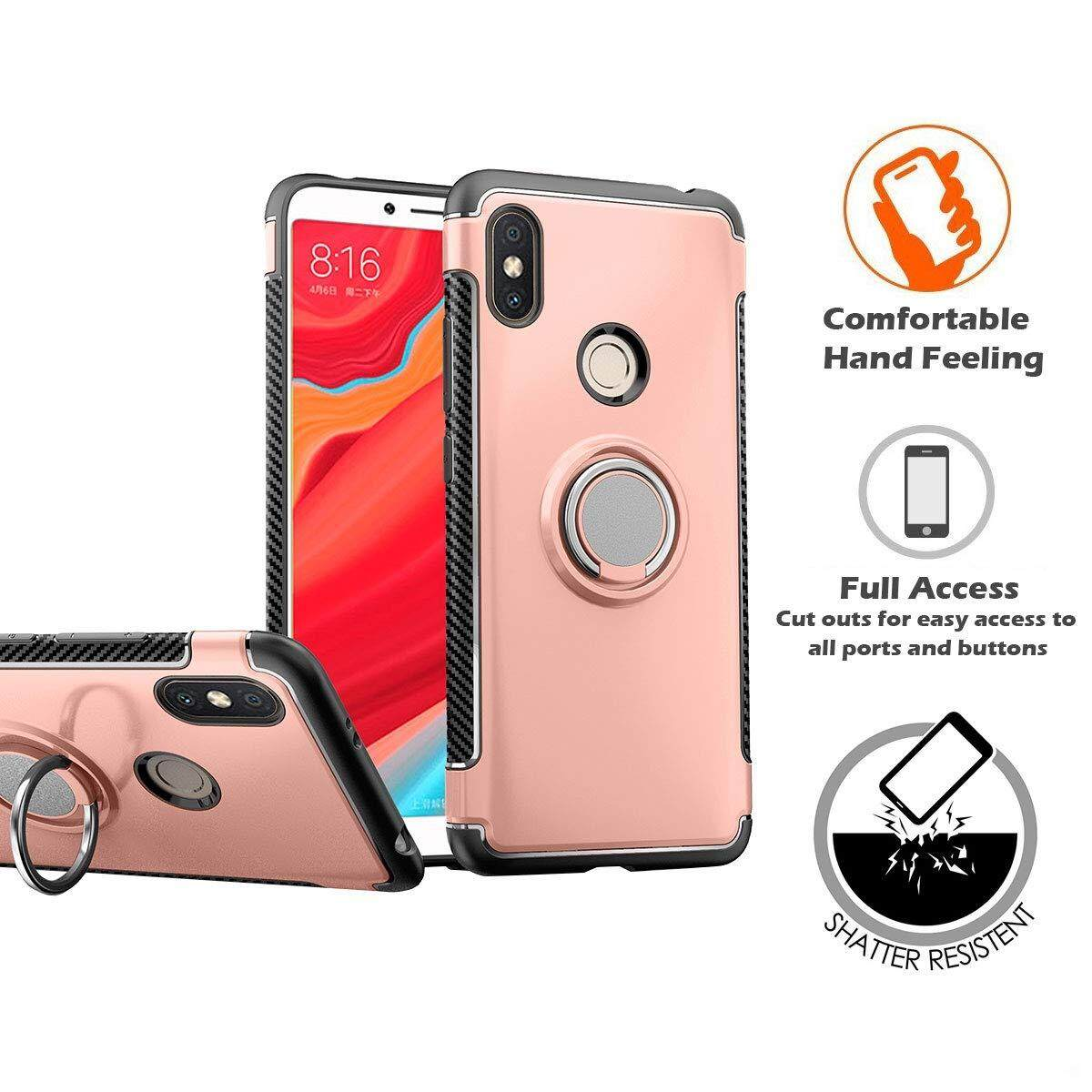 Redmi S2 Shockproof Case Cover, 360 Rotating Ring Grip Holder Kickstand Back Casing [Compatible
