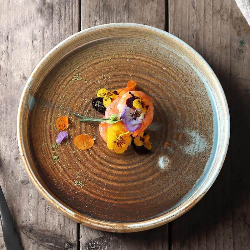 Vintage จานเซรามิกญี่ปุ่นถ้วยซุป Creative Home ถาดอบง่ายจานสไตล์ตะวันตกจานจาน By Byron.