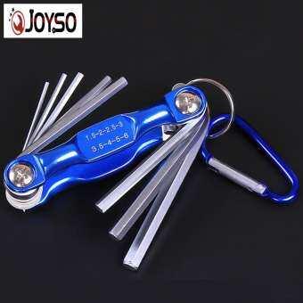 JOYSO HEX KEY ประแจเมตริกกุญแจแอลประแจพร้อม Chrome FINISH Carabiner สำหรับจักรยานคอมพิวเตอร์