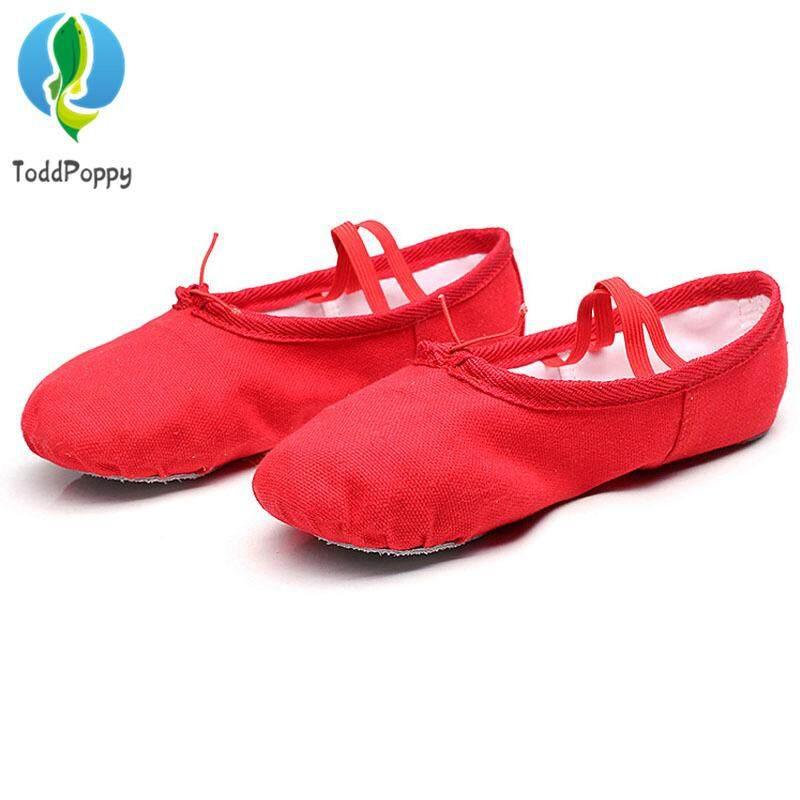 ผ้าใบบัลเล่ต์รองเท้าเต้นรำรองเท้าโยคะเด็กหญิงรองเท้าสลิปเปอร์หญิง
