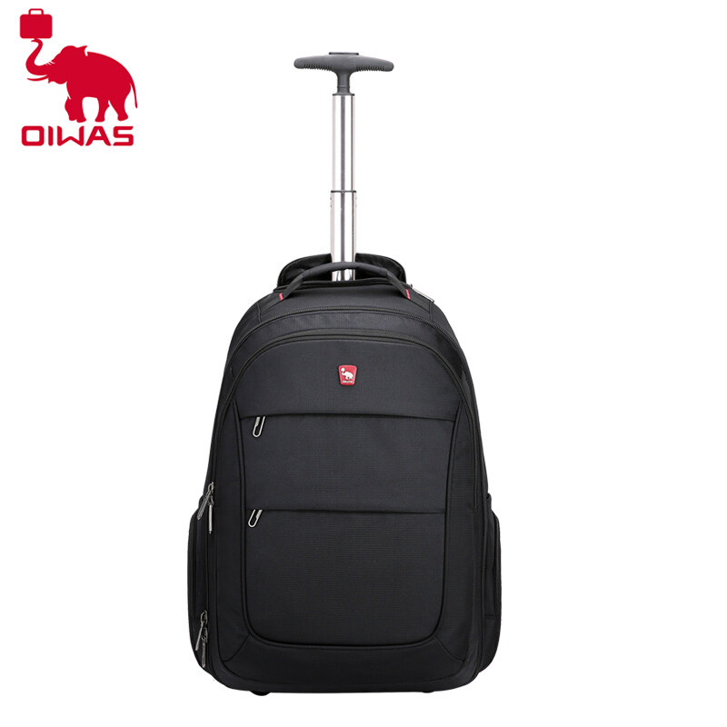 OIWAS Roll Top Backpack for Men Boys College Travel Leisure School BookBag Travel Lightweight Daypack Students Black
