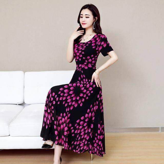 2a674db3ab6 Korean version of the floral long skirt printing 2019 spring and summer new  high waist large size dress female round neck