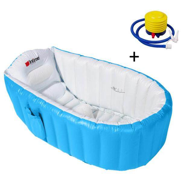 HLDB Eco-Friendly Inflatable Bathtub Bathing Tub Bucket Air Swimming Pool Portable Mini Air Swimming Pool Thick Foldable Shower Basin With Soft Cushion Central Seat With Inflator Pump For Babies Children Kids Infants Toddlers