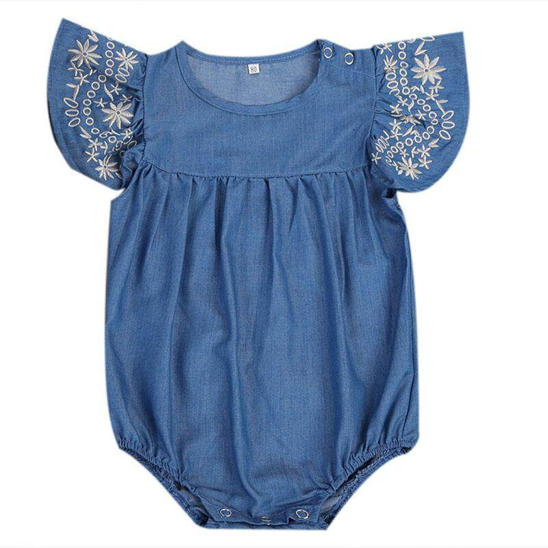 Fashion Newborn Baby Girl Denim Romper Jumpsuit Bodysuit Outfits Clothes