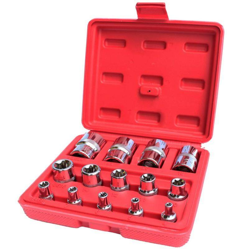 millionhardware - 14pcs E Type 1/4 3/8 1/2 Durable Chrome Vanadium Driver Socket E Torx Star Bit Socket Sets