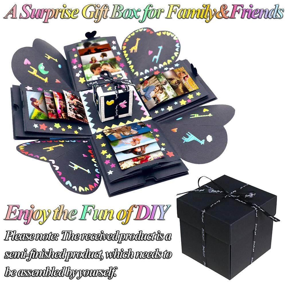 Creative Surprise Love Explosion Box DIY Photo Album Handmade Square Gift  Case for Family Friends Lover Anniversary Scrapbook Birthday Gift Wedding