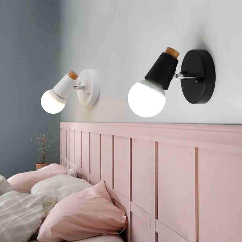 Nordic Simple Personality LED Small Wall Lamp Black White Wooden Wall Lamp Home Hotel Restaurant Decoration Wrought Iron Wall Lamp