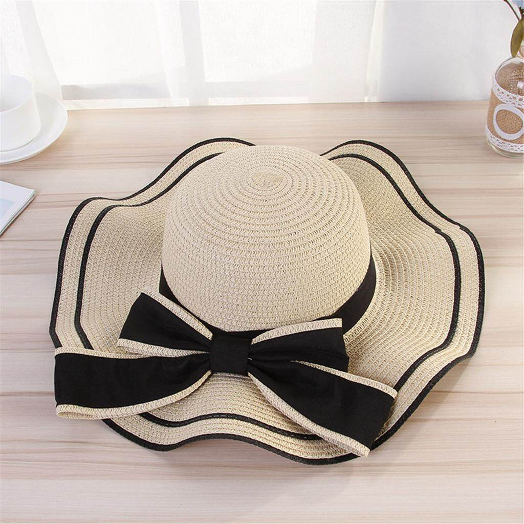 e06ad25f5 Women Beach Straw Hat Jazz Sunshade Panama Trilby Fedora Hat Gangster Cap