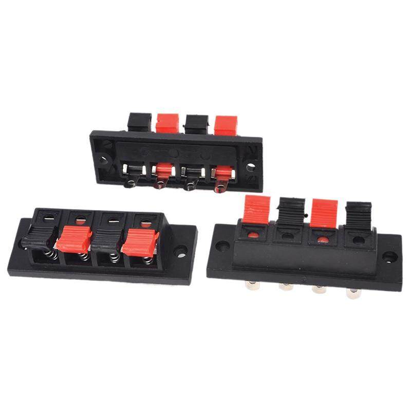 3pcs 4 Pin Red And Black Spring Pressure Audio Connector Board Terminal By Ralleya.