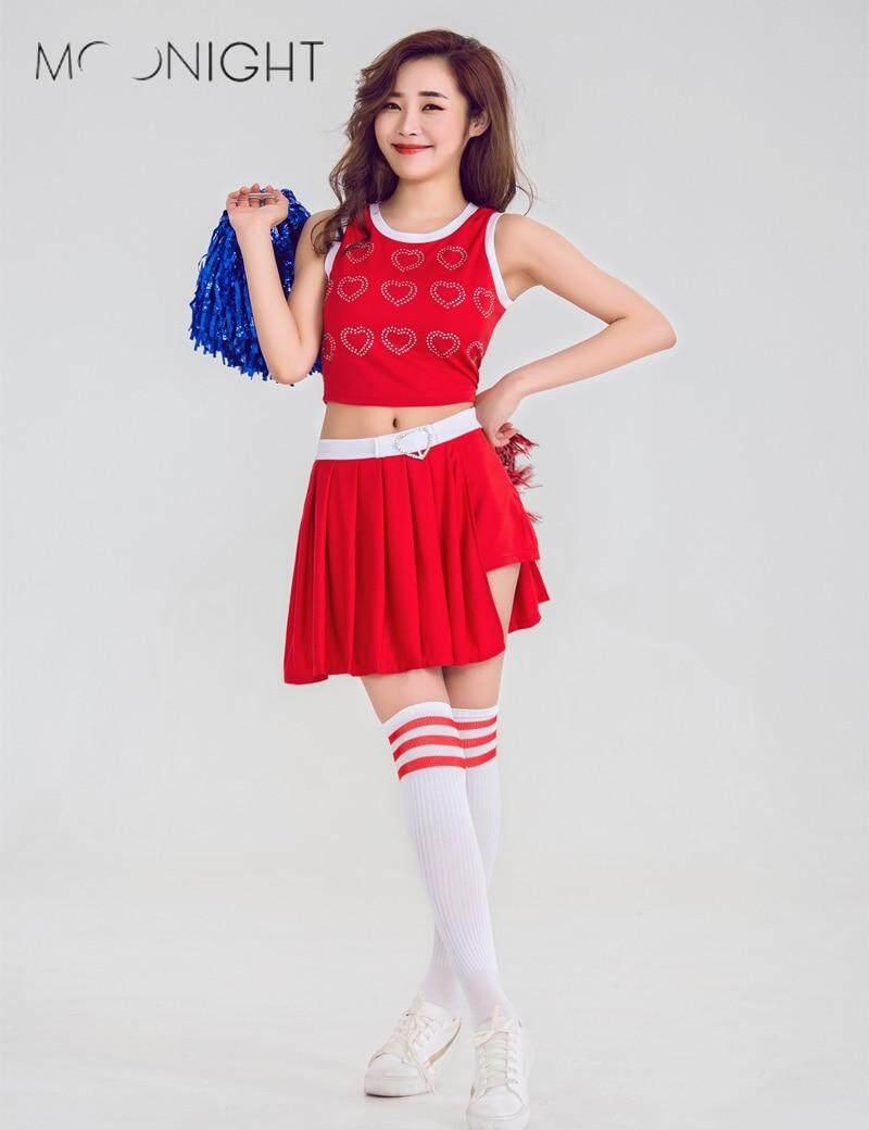MOONIGHT Sexy Cheerleader Costume Schoolgirl Dirndl School Girl Costumes Women Cosplay Halloween-in Holidays Costumes from Novelty