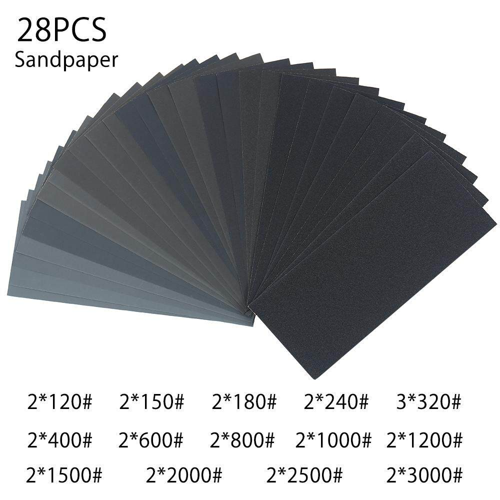 28PCS Hand Power Tools Sandpaper Grit Sheets Sander Paper Mixed Wet and Dry Waterproof Sandpaper 120-3000