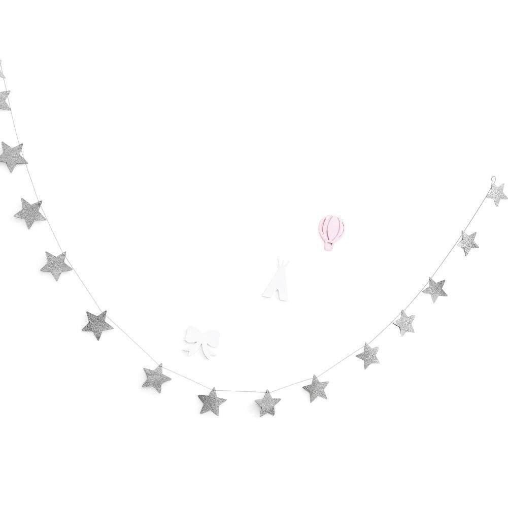 Gold Stars Hanging Decoration Garland Banner Pastel Perfection Sparkling Star Garland Bunting for Weddings or Parties Children's Rooms Mosquito Nets Rooms Walls