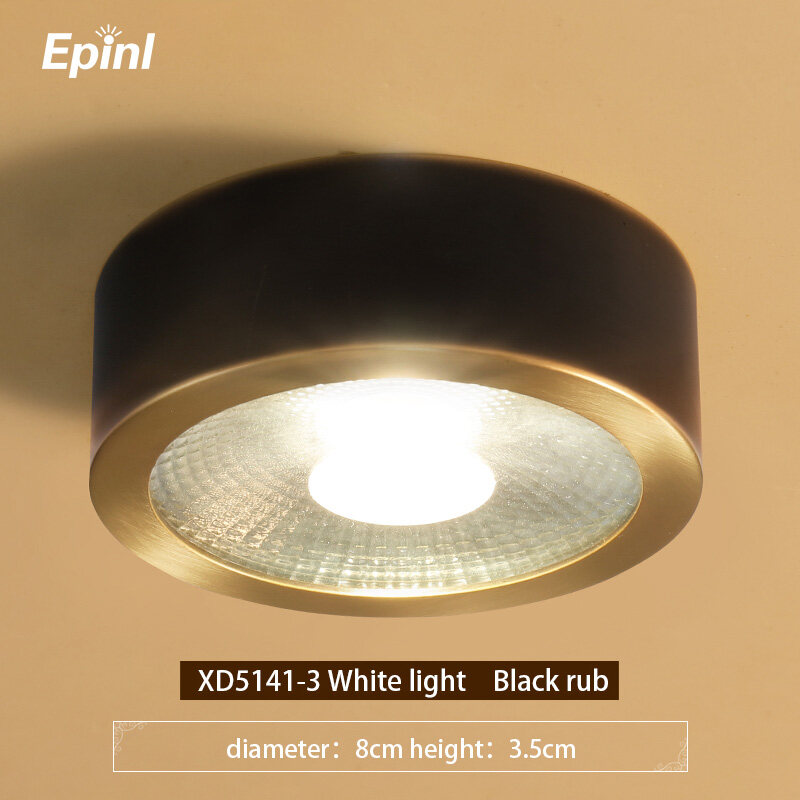 Epinl All Copper Surface Mounted Downlight Nordic Living Room Aisle Corridor Entrance Round Led Ceiling Light Modern Ceiling Spotlight