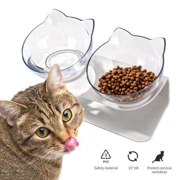Onlook Nền Tảng Nghiêng 15 ° Bát Mèo Đôi Chống Trượt Thức Ăn Cho Mèo Món Ăn Có Thể Điều Chỉnh Bát Uống Nước Có Thể Nâng Lên Để Bảo Vệ Đốt Sống Cổ Cho Mèo Con