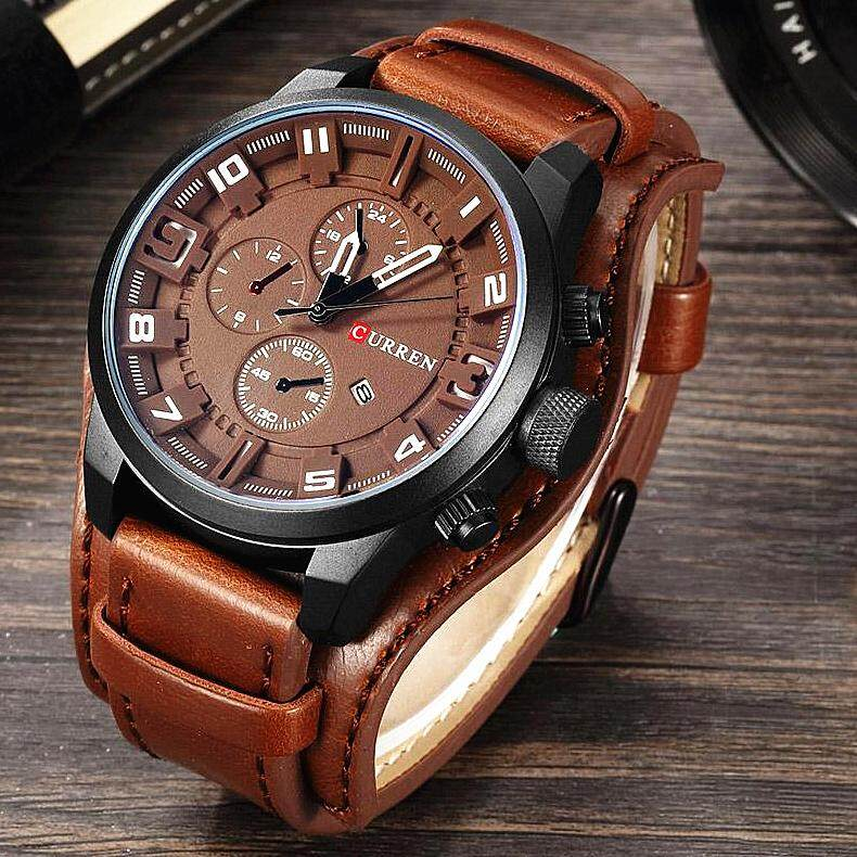 Hot Sale CURREN Fashion Men Watches Military Sports Quartz Watch Waterproof Leather Strap Quartz Business Wristwatches 8225 Malaysia