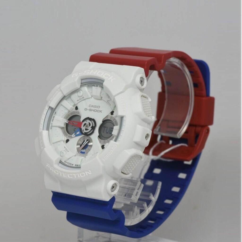 สอนใช้งาน  แม่ฮ่องสอน 【 STOCK】Original _ Casio_G-Shock GA120 Duo W/เวลา 200M กันน้ำกันกระแทกและกันน้ำโลกนาฬิกากีฬาไฟแอลอีดีอัตโนมัติ Wist นาฬิกากีฬาสำหรับ MenRed สีฟ้าสีขาว GA-