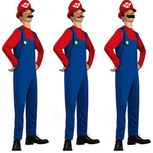 Mens Super Mario Luigi Brothers Cosplay Games Costume Plumber Fancy Clothes New