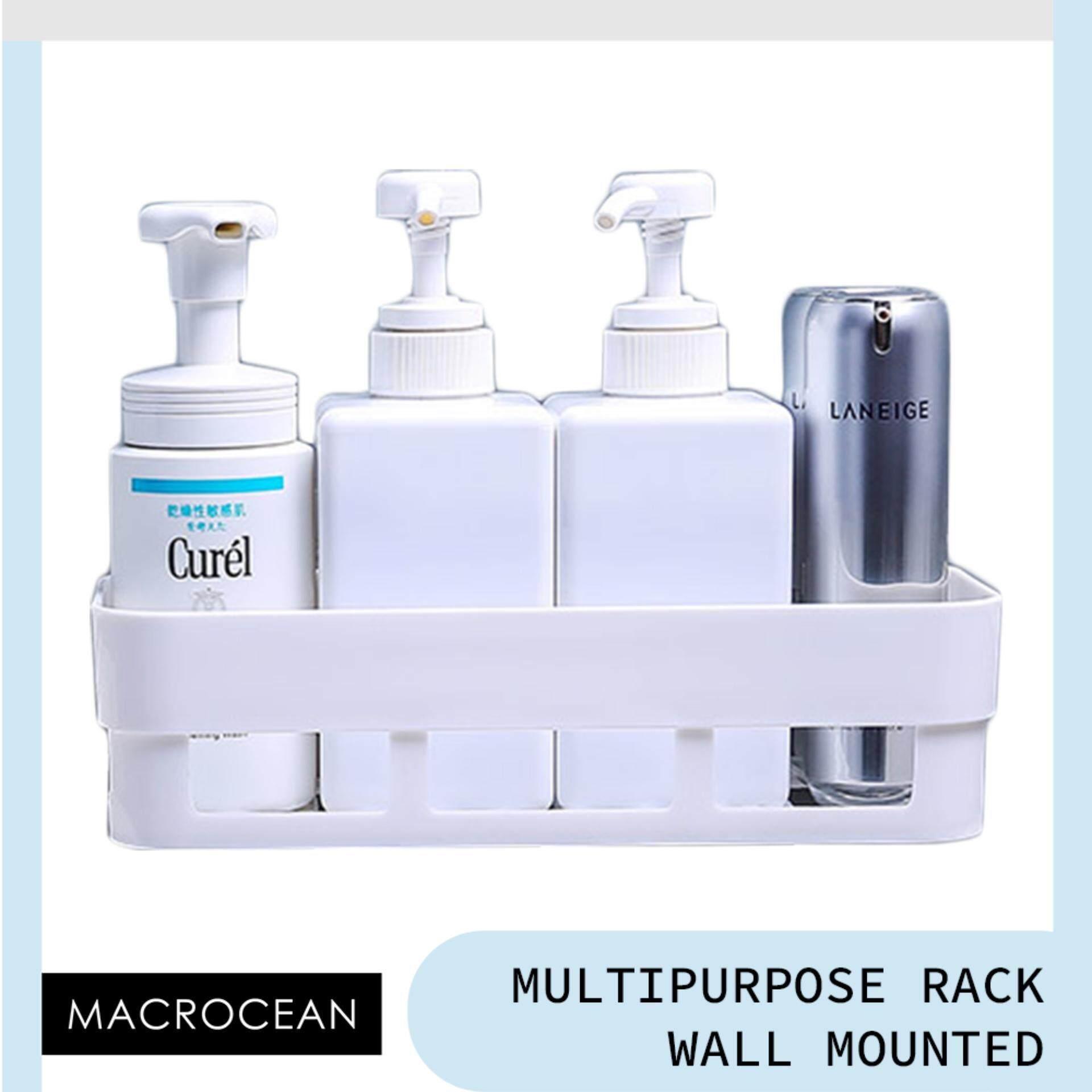 Macrocean Bathroom Suction Space Saving Rack Premium Plastic Kitchen And Bathroom Storage By Macrocean.