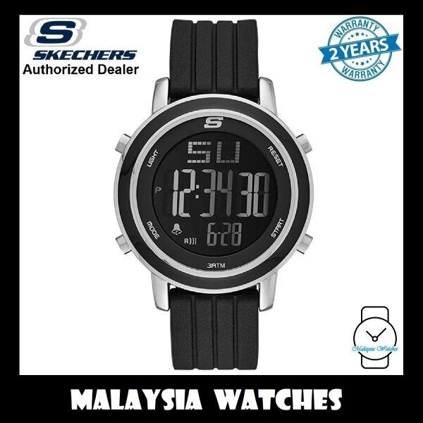 (OFFICIAL WARRANTY) Skechers SR6012 Womens Westport Digital Steel Case Black Silicone Strap Watch (2 Years Warranty) Malaysia