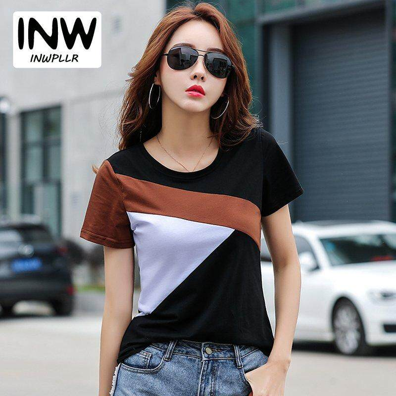 INWPLLR Women s Korean-style T-shirts Summer O-neck Short Sleeve Tee Tops c1a951357