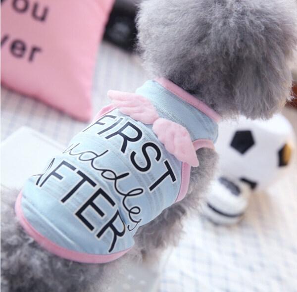 DY Yêu Chó Con Net Mèo Quần Áo Chó Quần Áo Mùa Hè Áo Sơ Mi Thoáng Khí 3D Cánh Thiên Thần Cosplay Chó Con Dễ Thương