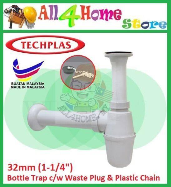 32mm (1-1/4) TECHPLAS Bottle Trap c/w Waste Plug & Plastic Chain