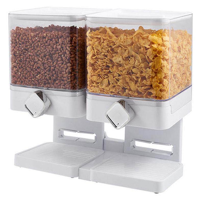 Canister Dry Food Snack Cereal Dispenser Home Space Saving Fresh Household Large Multifunctional Double Storage Container