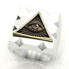 PUNK สไตล์สามเหลี่ยมตาสีทองเงินสีแหวนผู้ชาย Gothic ROCK PARTY แหวนประดับ