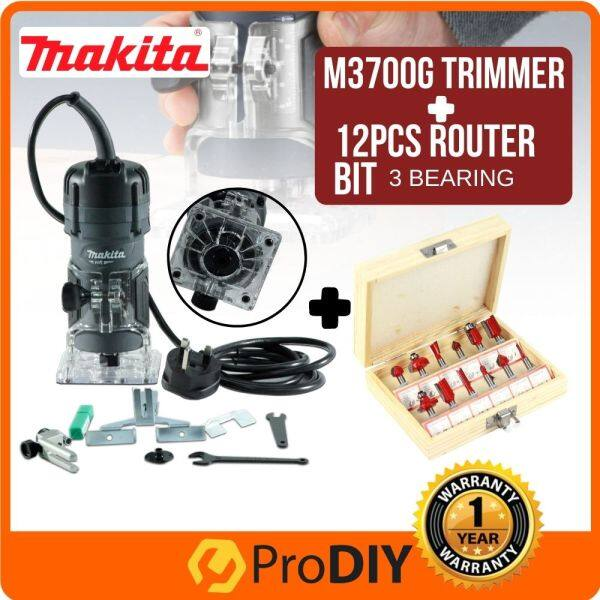 M3700G 6.35MM (1/4) 530W MAKITA WOOD TRIMMER + 6 PCS ROUTER BIT SET (random color)