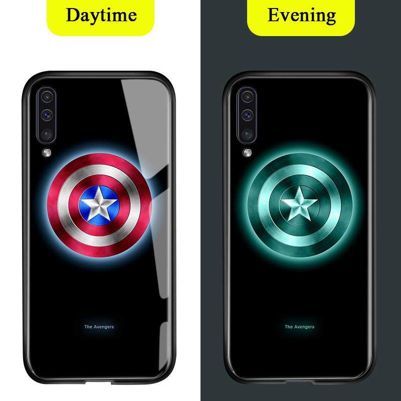 For Samsung Galaxy A50 Luminous Case, Marvel Avengers Tempered Glass Back Cover Luxury Fashion Shockproof
