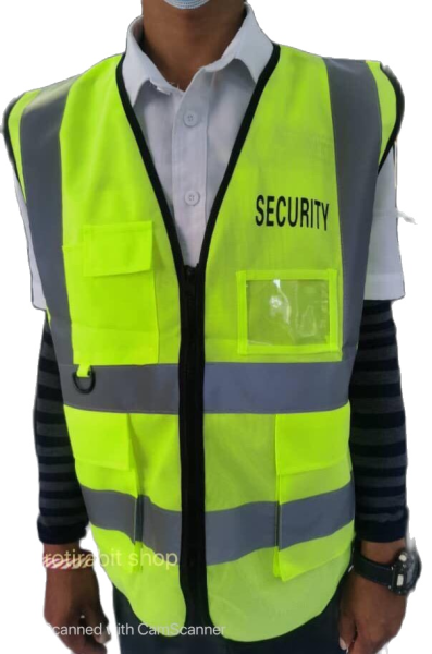 SAFETY REFLECTIVE VEST (with SECURITY WORD with four pockets)