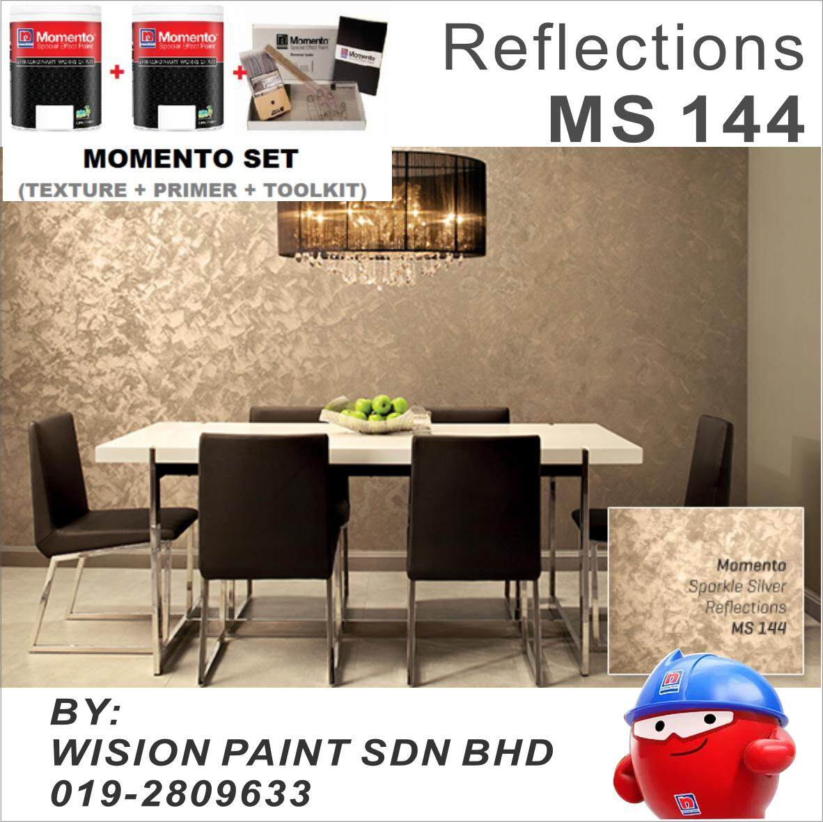 MS 144 reflections ( MOMENTO SET 1 LITER TEXTURE + 1 LITER PRIMER + TOOLKIT ) SPARKLE SILVER NIPPON PAINT