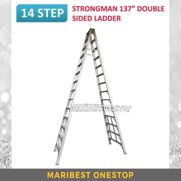 "STRONGMAN DS14 137"" Aluminium Double Sided 14 Steps Ladder"