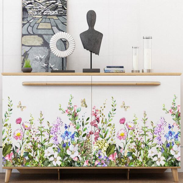 Decor Background Flower Art Stickers Grass Mural Decal Wall Wall