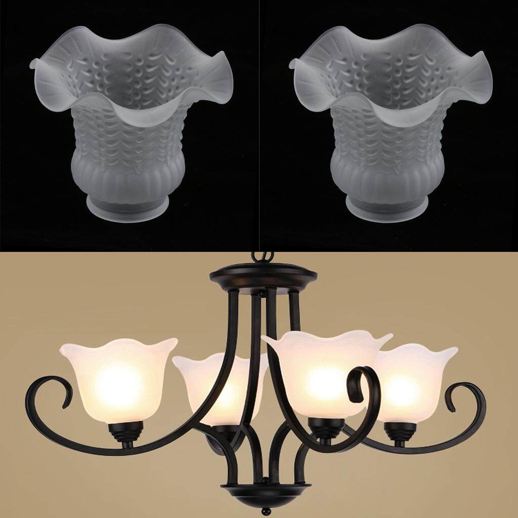 Perfk 2pcs Glass Ceiling Fan Light Chandelier Wall Sconce Light Lamp Shades Cover