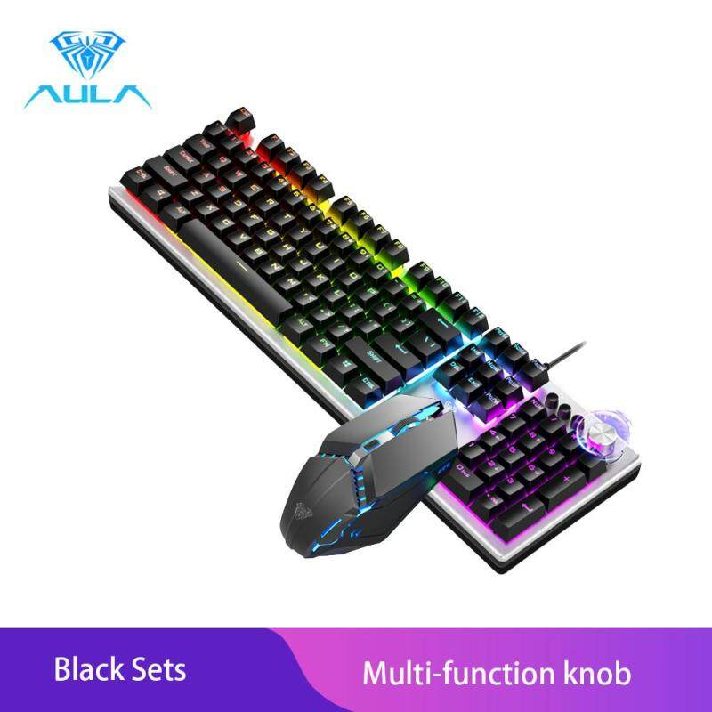 AULA T200 Gaming Keyboard And Gaming Mouse Combo Colorful Backlight With Multi-function Knob Malaysia
