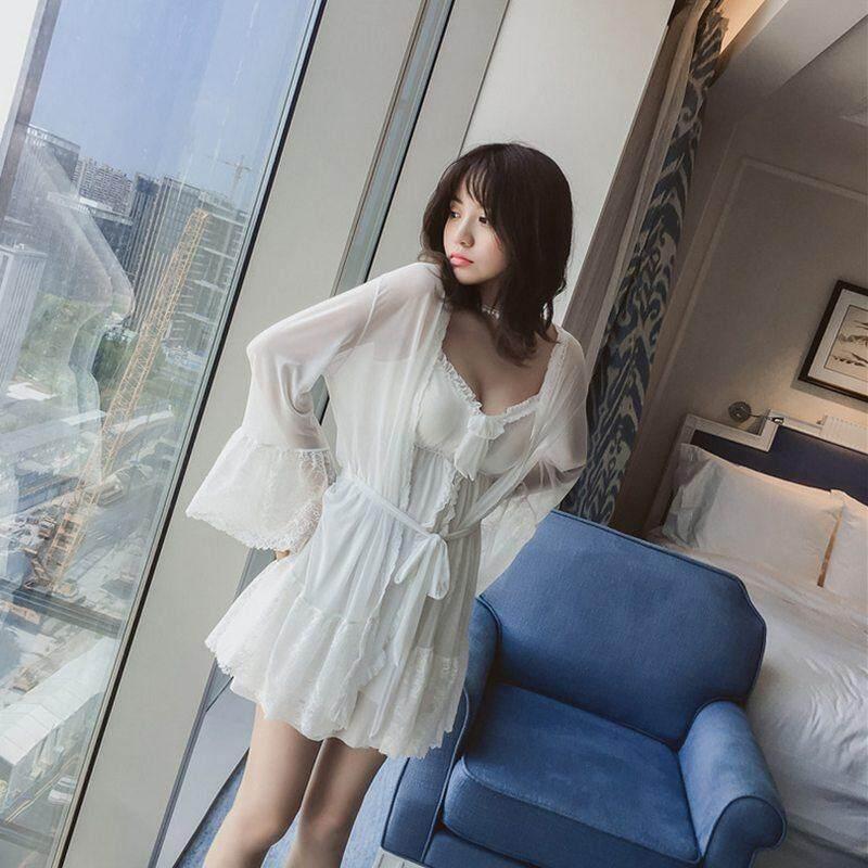 Váy Ngủ ren Bộ Đồ Ngủ Bộ Trắng Sợi Lưới Áo Sling Sleepshirts với Miếng Lót Ngực Áo Choàng Tắm Bộ Váy Ngủ Gợi Cảm Phù Dâu Cưới Áo Dây bộ