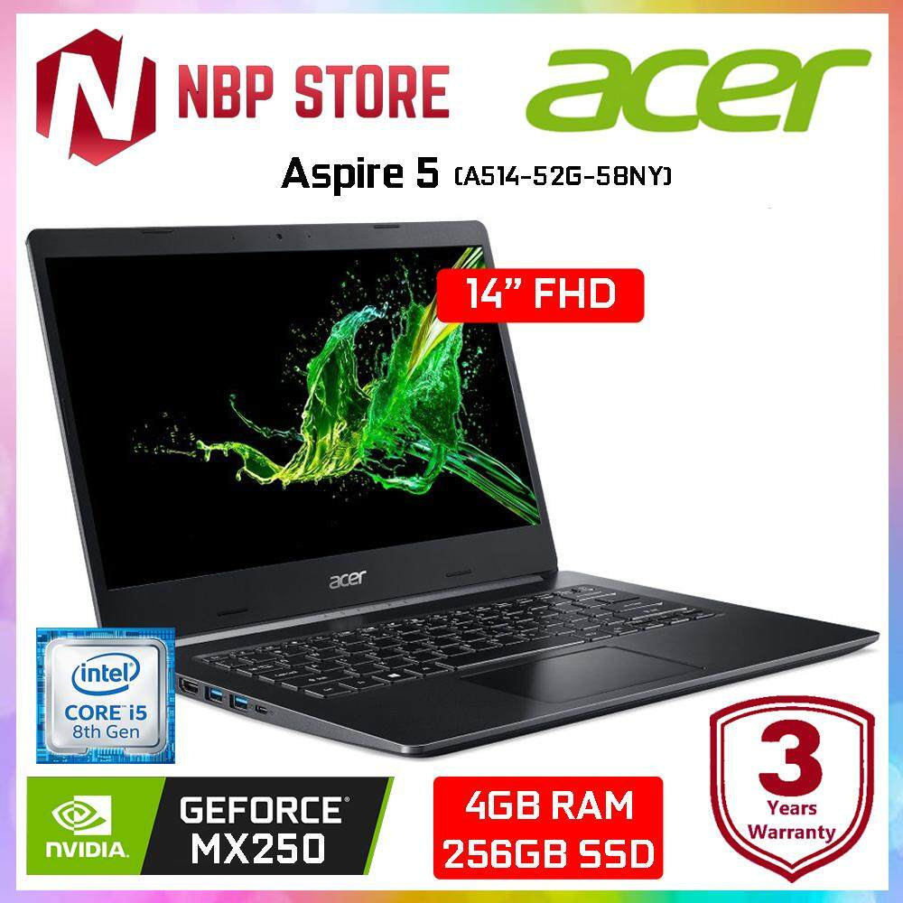 Acer Aspire 5 A514-52G-58NY 14 FHD IPS Laptop Black ( i5-8265U, 4GB, 256GB, MX250 2GB, W10 ) Malaysia