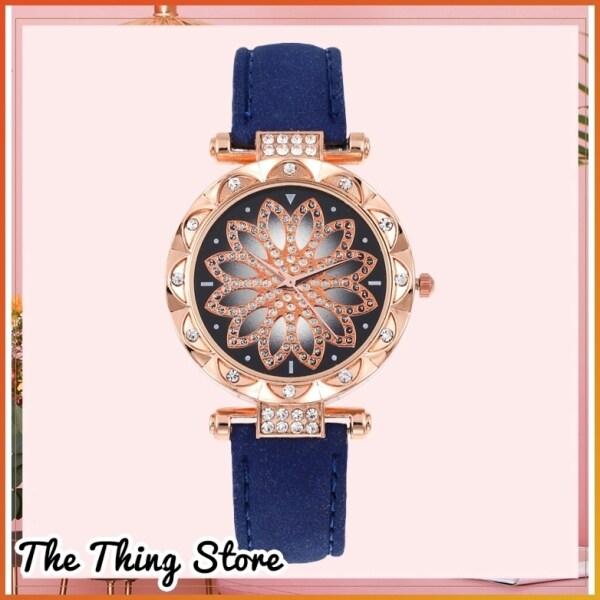 Kstyle Women Quartz Simple Fashion Shiny Glittery Starry Dreamy Flower Classy Elegant Magnet Stainless Crystal Watch Glass Wrist Watch - JT014 Malaysia