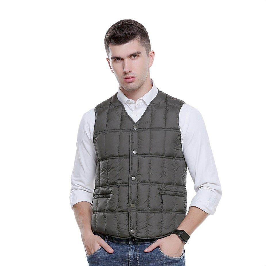 [โปรโมชั่น] ผู้ชายสบายเสื้อกั๊กไฟฟ้าทำความร้อน Usb ความปลอดภัยอัจฉริยะ Thermostat By Kakagardener.