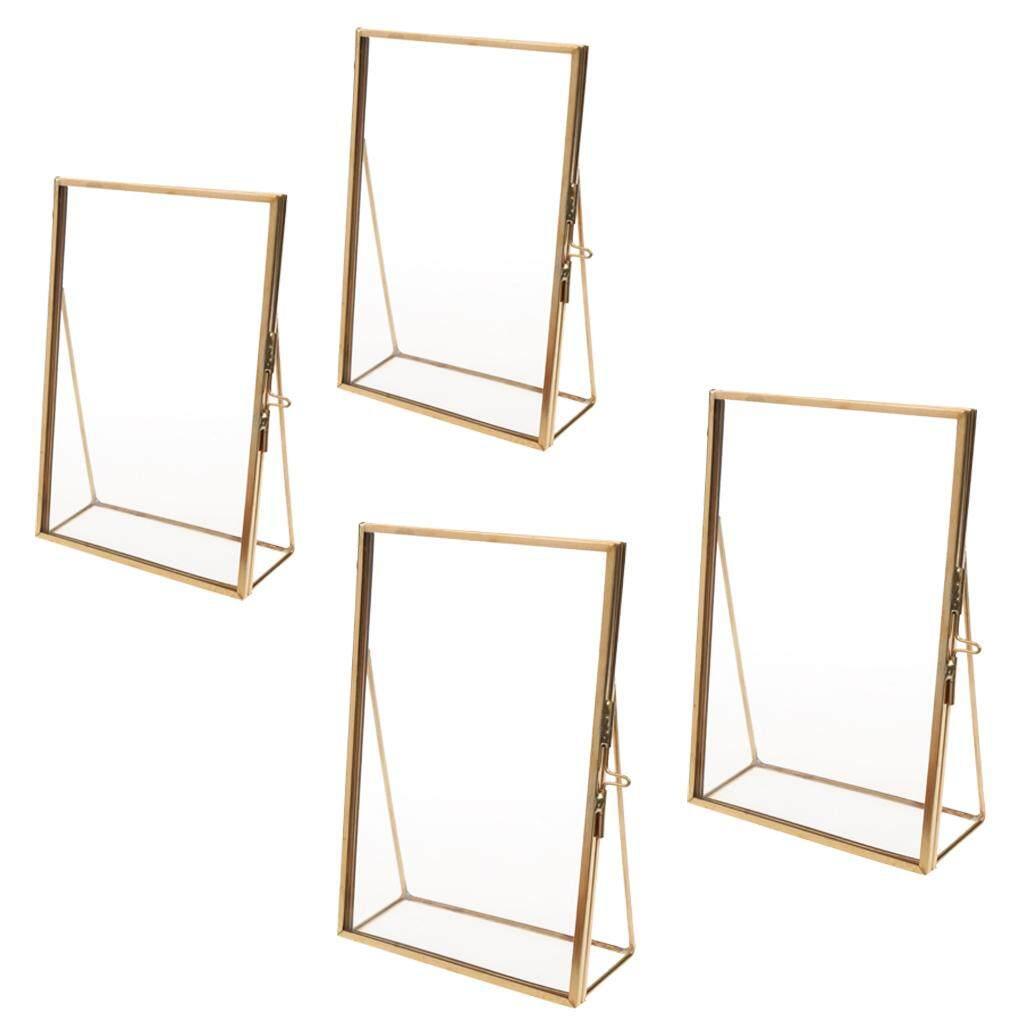 Perfk Set of 4, Modern Desk Glass Photo Frame for Displaying Artwork Certificate Picture Pressed Item Flower