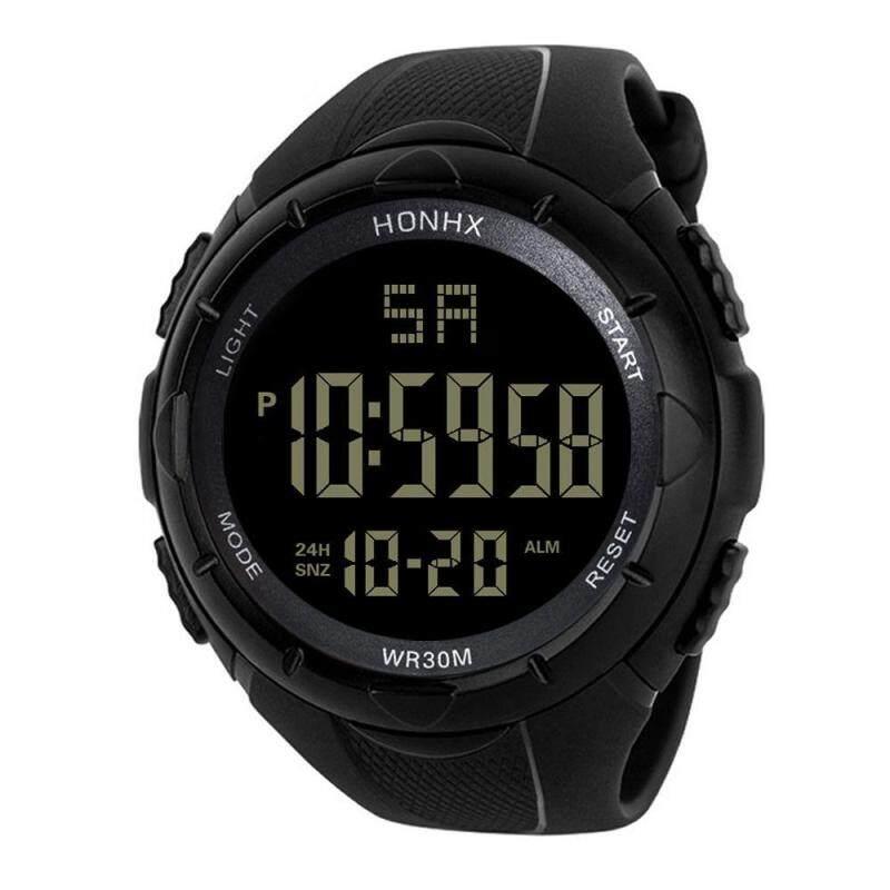 HONHX Mens Sports Digital Watch LED Waterproof Digital Quartz Casual Watch Sport Men Watches Clock Mens Watch black Malaysia