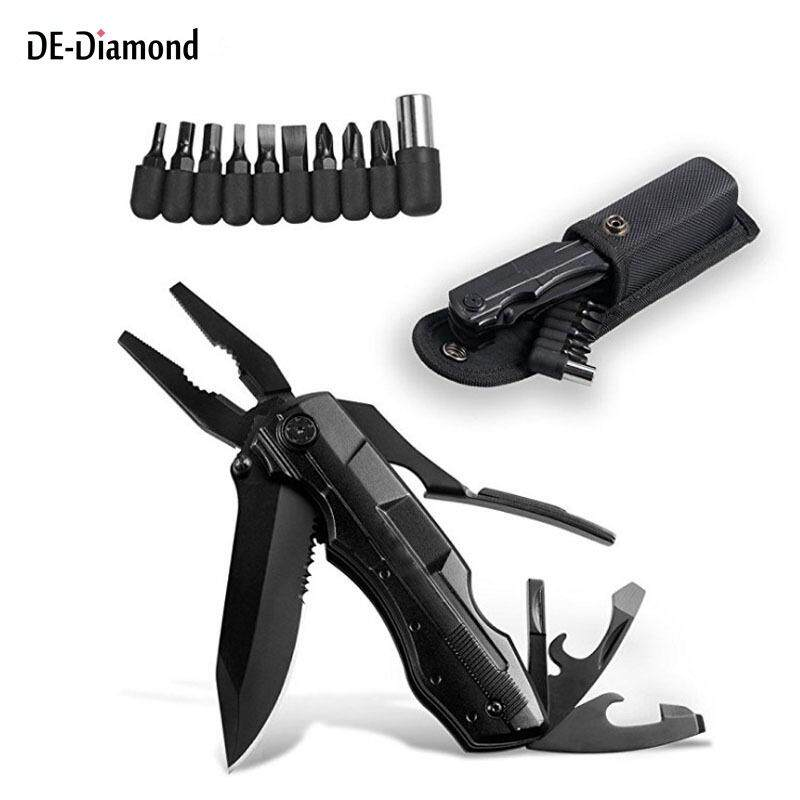 DE 10 In 1 Multitool Set Outdoor Camping Pliers Opener Cutter Kit with 10 Drill Bits Portable Carry Bag