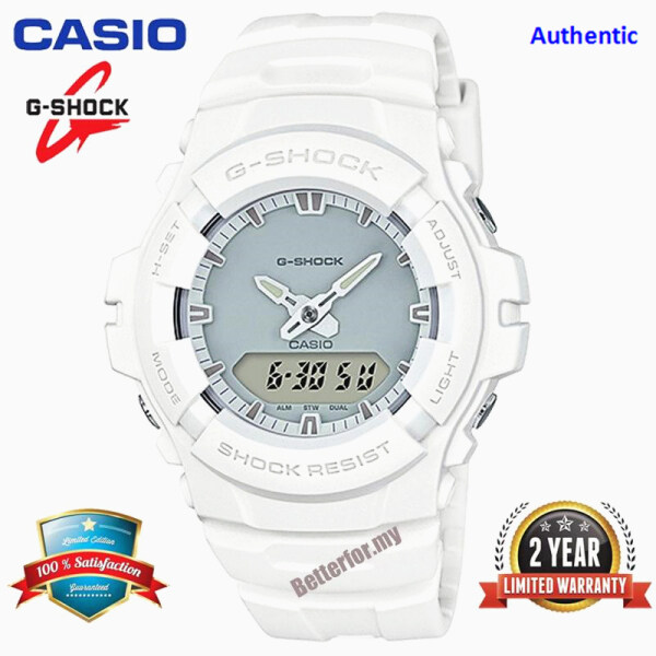 Original G Shock G100 Men Sport Watch Dual Time Display 200M Water Resistant Shockproof and Waterproof World Time LED Auto Light Sports Wrist Watches with 2 Year Warranty G-100CU-7A White (In Stock) Malaysia