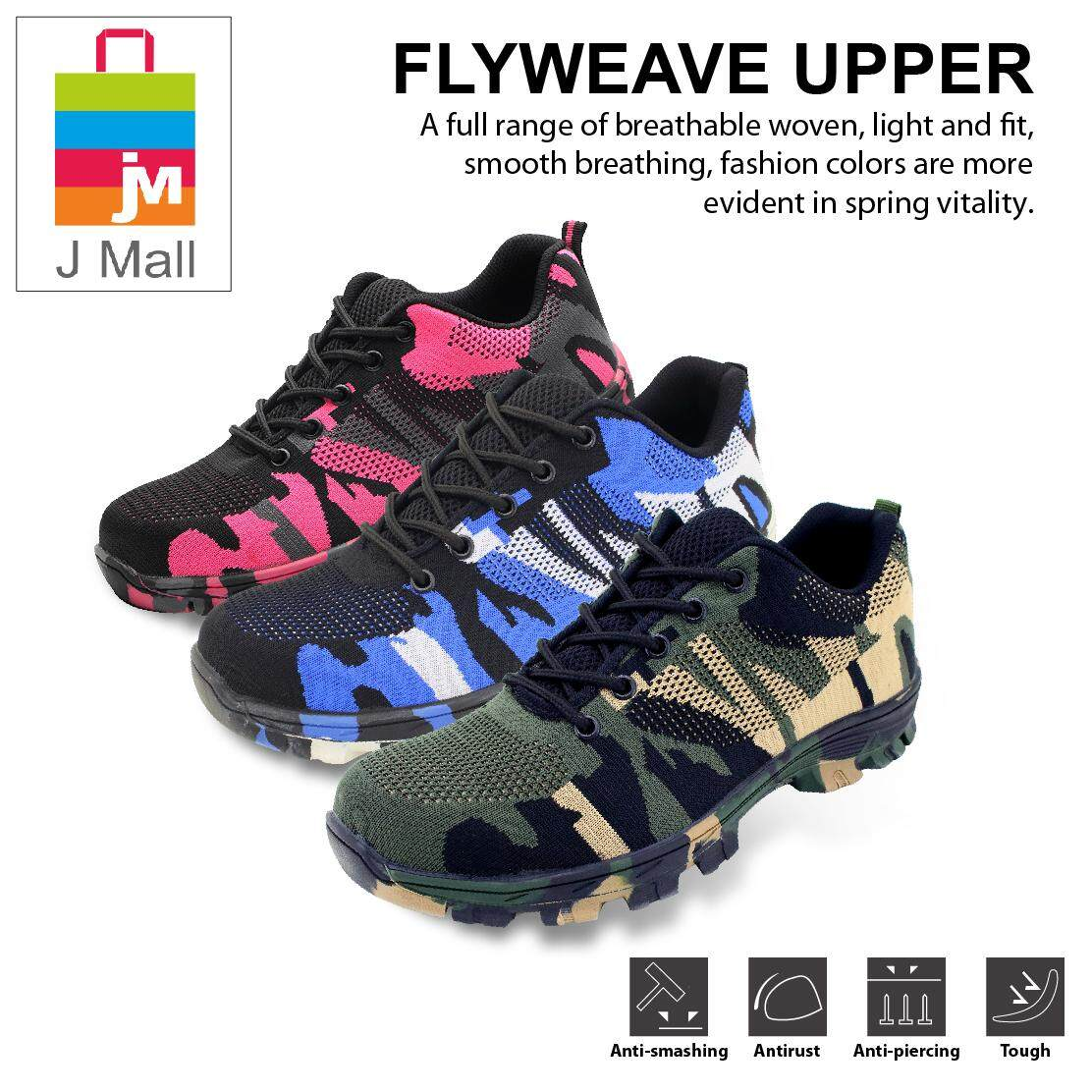 J MALL Fashion Worker Low-Cut  Steel Toe Cap Work Safety Shoes (Flyweave Fabric) 526 - Army Green / Blue / Pink