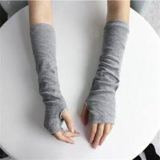 Găng tay hở ngón co giãn kích thước 28×8.5cm thời trang thu đông phong cách unisex – INTL