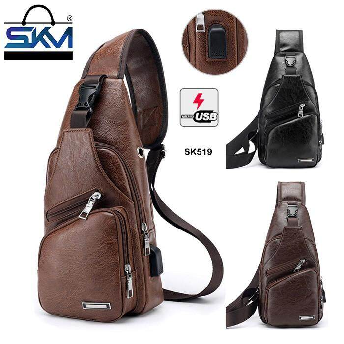 194c4d19b62 Men s Vintage Leather Sling Bag Shoulder Messenger Crossbody Pack with USB  Charge Port Casual Bag