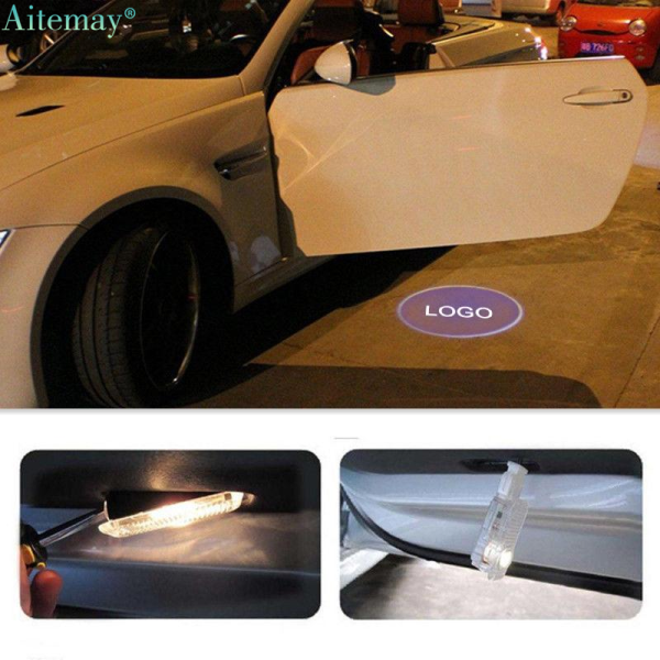 Aitemay 2 Pcs Car Logo Door Welcome Light LED Luminous Projector Laser Shadow Lamp Car Ghost Shadow Lights Backlight Lamp For Audi