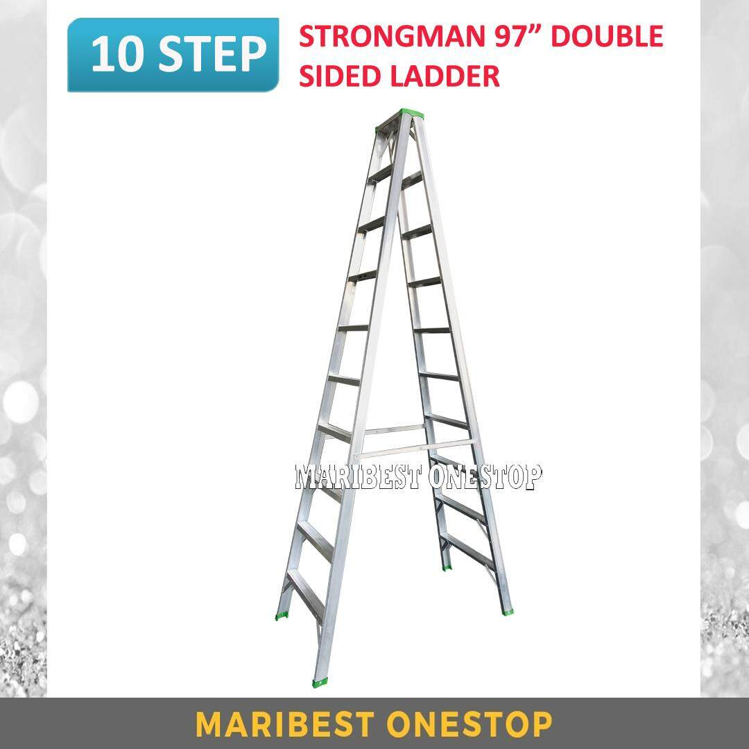 "STRONGMAN DS10 97"" Aluminium Double Sided 10 Steps Ladder"